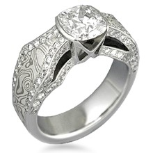Mokume Borealis Diamond Accent Engagement Ring