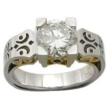 Platinum Scrollwork Engagement Ring - top view