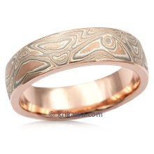 Champagne Mokume Wedding Band