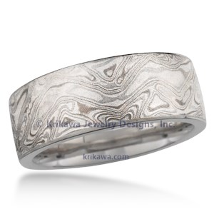 Platinum Mokume Wedding Band