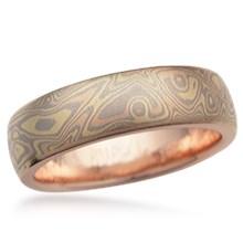 Trigold Mokume Wedding Band