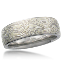 Winter Mokume Wedding Band