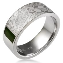 Mokume Block Wedding Band