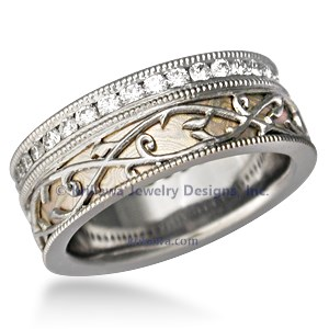 Mokume Wedding Band with Vine Overlay