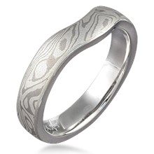 Contoured Mokume Gane Wedding Ring