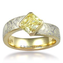 Mokume Angled Wave Engagement Ring