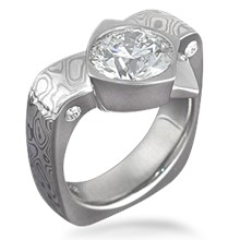 Mokume Crossover Engagement Ring