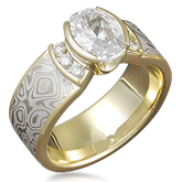 Mokume Diamond Engagement Ring