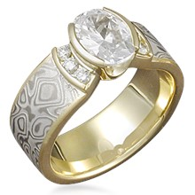 Mokume Engagement Ring with Channel-Set Accents