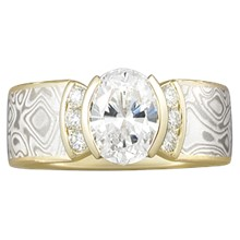 Mokume Engagement Ring with Channel-Set Accents - top view