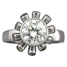 Sputnik Engagement Ring - top view