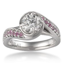Brilliant Rose Swirl Engagement Ring - top view