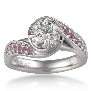 Brilliant Rose Swirl Engagement Ring