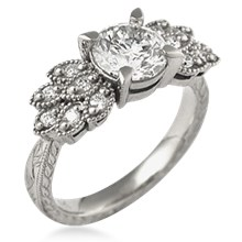 Antique Style Leaf Pave Engagement Ring