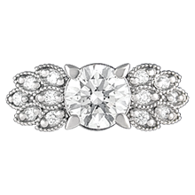 Antique Style Leaf Pave Engagement Ring - top view