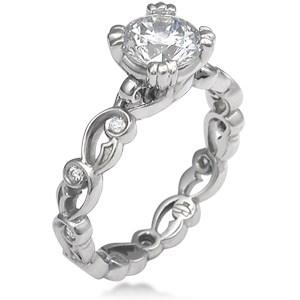 Delicate Leaf Engagement Ring