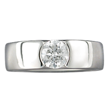 Modern Flush Stone Engagement Ring - top view