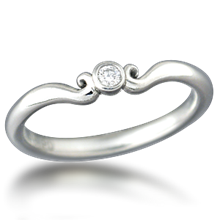 Carved Mini Curls Wedding Band - top view