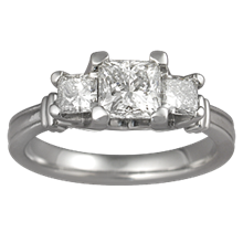Three Stone Ribbon Engagement Ring - top view
