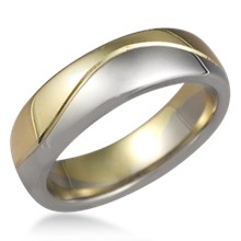 Two Tone Wave Wedding Band