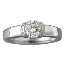 Modern Millegrain Engagement Ring - top view