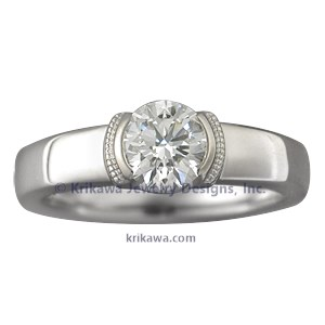 Modern Millegrain Engagement Ring