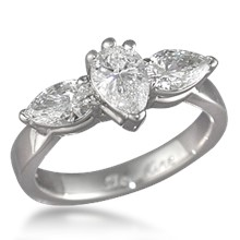Traditional Three-Stone Engagement Ring with Pears