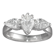 Traditional Three-Stone Engagement Ring with Pears - top view