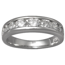 Diamond Channel Tapered Wedding Band - top view