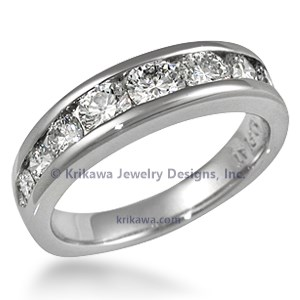 Diamond Channel Tapered Wedding Band