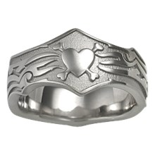 Tribal Wedding Band with Hearts and Bones - top view