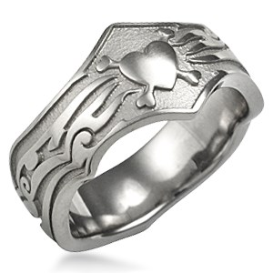 Tribal Wedding Band with Hearts and Bones