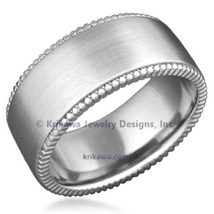 Modern Millegrain Wedding Band