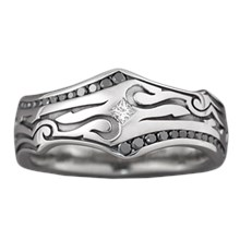Tribal Wedding Band - top view