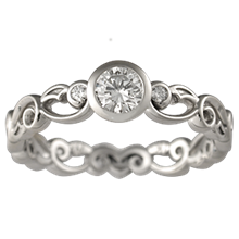 Delicate Leaf Engagement Ring with a Bezel Mounting - top view