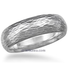 Long Hammered Wedding Band