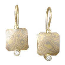 Mokume Cushion Earrings
