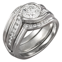 Carved Wave Engagement Ring with Enhancer
