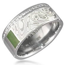 Mokume Block Wedding Band with Diamonds