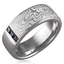 Mokume Block Wedding Band, 6 Princess Cuts