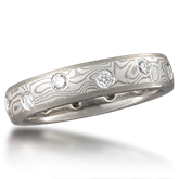 Unique Mokume and Diamond Wedding Ring