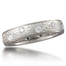 Mokume Wedding Band with Scattered Diamonds - top view