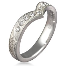 Contoured Mokume Band with Diamonds