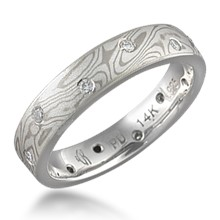 Mokume Wedding Band with Scattered Diamonds, 0.12 ctw