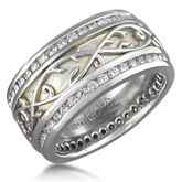 Designer Diamond Mokume Wedding Band
