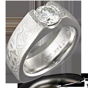 Mokume Flush Stone Solitaire Engagement Ring With European