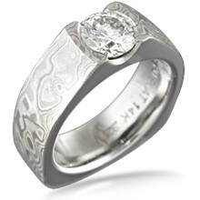 Mokume Flush Stone Solitaire Engagement Ring, European Shank