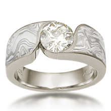Mokume Wave Engagement Ring - Round - top view