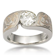 Mokume Wave Engagement Ring - Round