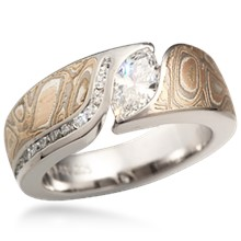 Mokume Wave Engagement Ring with Diamond Channel